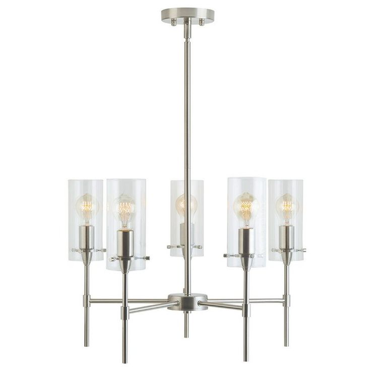 Add a touch of modern sophistication to your dining or entry area with this collection. Perfect for a foyer, hallway or dining area, this 5 Light Mini Chandelier features clean lines and a contemporary silhouette that allows light to take center stage. Included rigid stems allow hanging from a variety of heights. It features 3 medium base sockets and is compatible with a number of bulb options, including incandescent (60W max), compact fluorescent and LED (bulbs not included). It is fully…