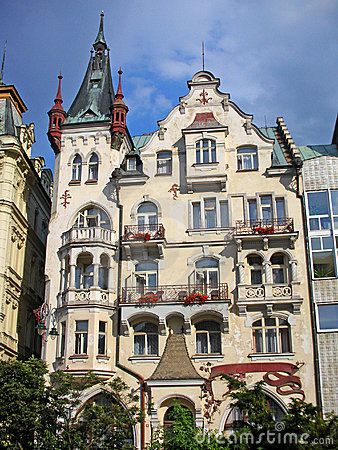 One of many beautiful and fancy buildings in the centre of Karlovy Vary, Czech Republic.