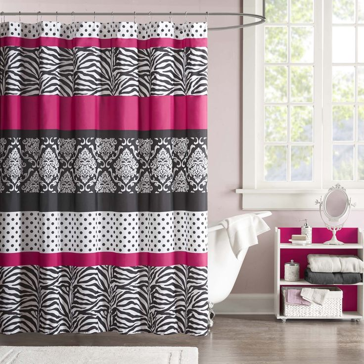 The Mi Zone Gemma shower curtain offers an edgy yet girly look for your space. The stripes of polka dots, damask print and zebra print create the perfect balance while the hot pink gives a bold finish to your bathroom.