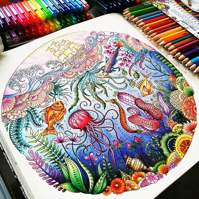 Colour Yourself Happy With The Colouring Book Lost Ocean By Johanna Basford Thank You Jardimsecretolove For Sharing Your Artwork Us
