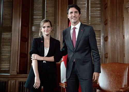 Emma Watson met and interviewed the Canadian Prime Minister Justin Trudeau in Ottawa, Canada on September 28, 2016