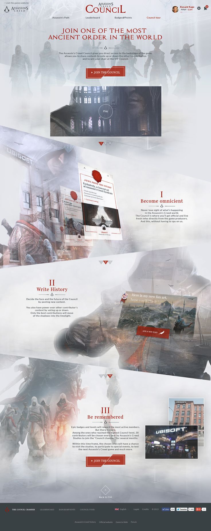 Assassin's Creed Council on Behance #Ui #ux #layout #webdesign #craft #crafted #ubisoft