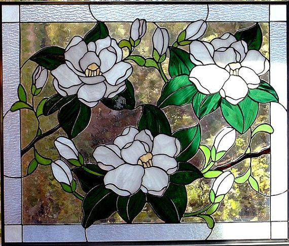 Magnolias Stained Glass Window Panel Choice of 3 by glassmagic (Art & Collectibles, Glass Art, stained glass, window, panel, magnolia, white, green, cabinets)