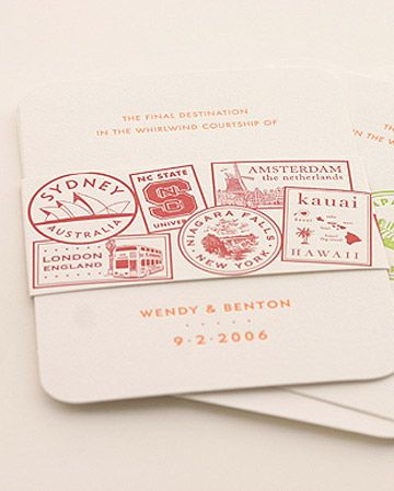 Super cute travel-themed belly band for wedding invitations