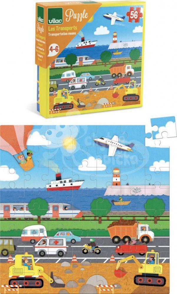 Dřevěné puzzle - Vilac - Dopravní prostředky - 56 dílů