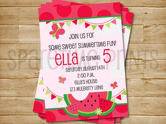 Printable Watermelon Invitation Watermelon by SparetimePrints, $11.00