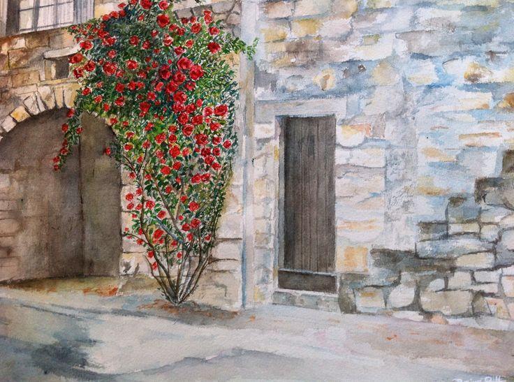 """Peinture paysage nature peinture aquarelle@Lumeline-BLL """"Mur de roses"""" : Peintures par lumeline-bll"""