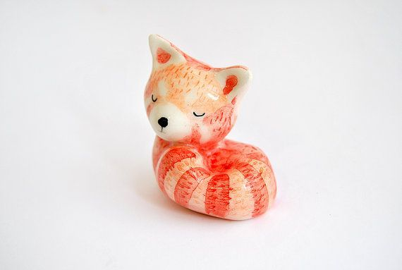 Ceramic Red Panda Miniature, Lesser Panda, Red Panda Totem, in White Clay and Decorated in Red, Orange and Black. Made To Order