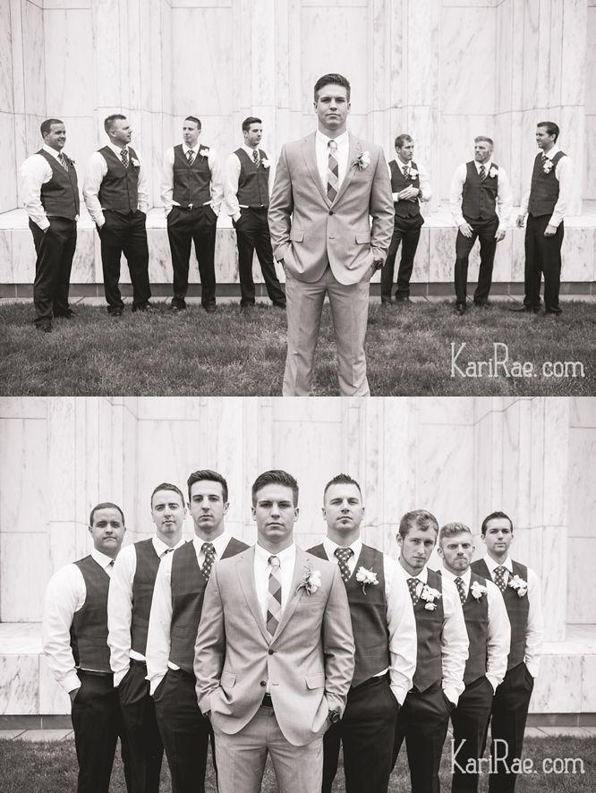 REPIN: Portland Temple Wedding, LDS wedding, groomsmen pose, fun and classy groomsmen - Kari Rae Photography