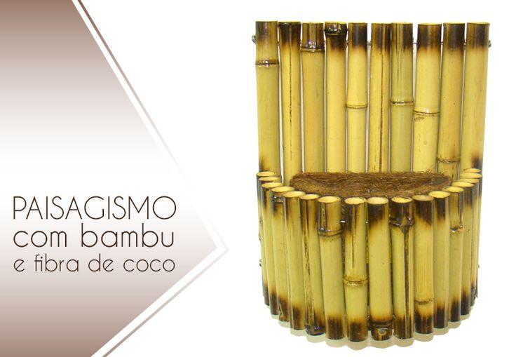 Vaso de parede feito com bambu e fibra de coco verde. #Bambu #FibraDeCoco #CocoVerde #CocoReciclado #Reciclagem #Sustentabilidade #RioDeJaneiro