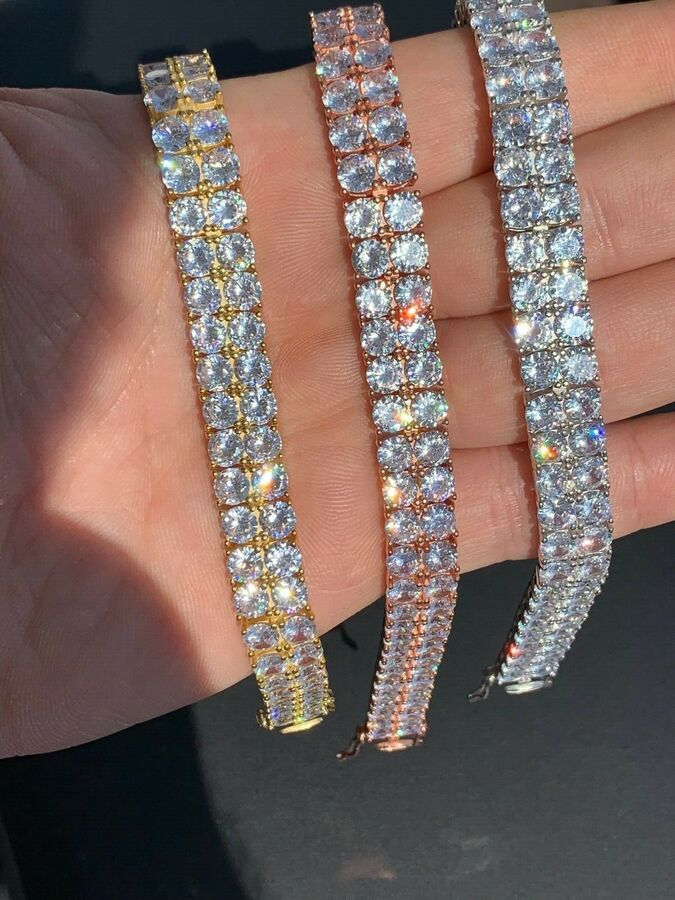 Mens 10mm Thick Two Row Tennis Bracelet Solid 925 Silver 6 9 Iced Out Diamonds Ad Sponsored Thick Row Tennis 925 Silver Tennis Bracelet Bracelets