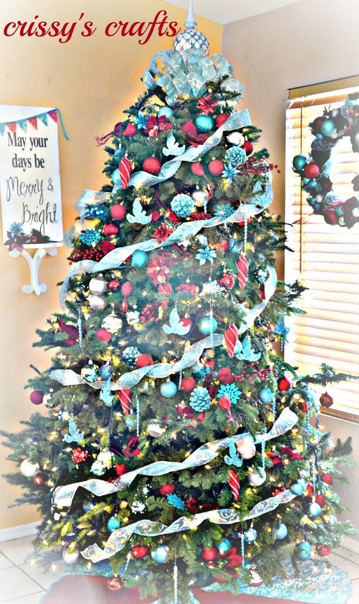 Blue christmas trees decorating ideas - Aqua And Red Christmas Tree