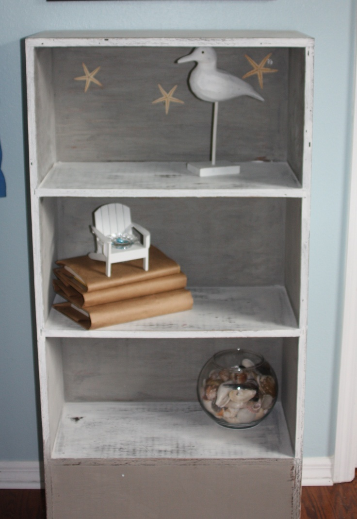 Grey And White Distressed Bookcase.