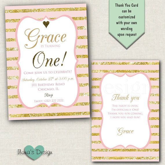 First Birthday Invitation Pink and Gold First by IlonasDesign