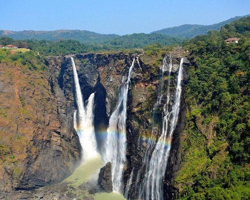 Jog Falls -  This is the highest-plunge waterfall in all of India — which is saying something considering India lies at the base of the towering Himalayas. Although there are many waterfalls in Asia that drop from a higher altitude, Jog Falls is unique in that it remains untiered over the entire drop. This is a popular tourist attraction, and it is most impressive during monsoon season.