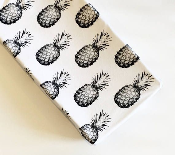 Black and white pineapples changing pad cover | tropical nursery | black and white nursery | Hawaii beach resort | tropical baby bedding | gender neutral nursery | by Wilder and Bean