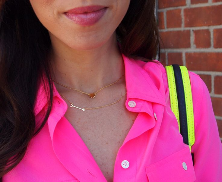 Pairing the on the mark necklace with a strong colour makes sure it gets noticed!