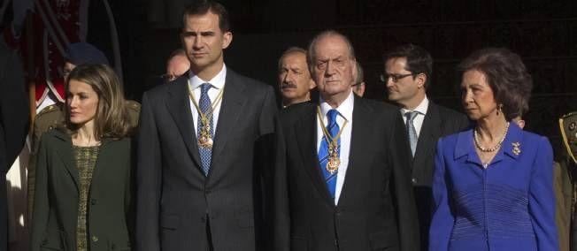 La famille royale espagnole le 27 décembre dernier lors de la cérémonie d'ouverture de la législature au Parlement.