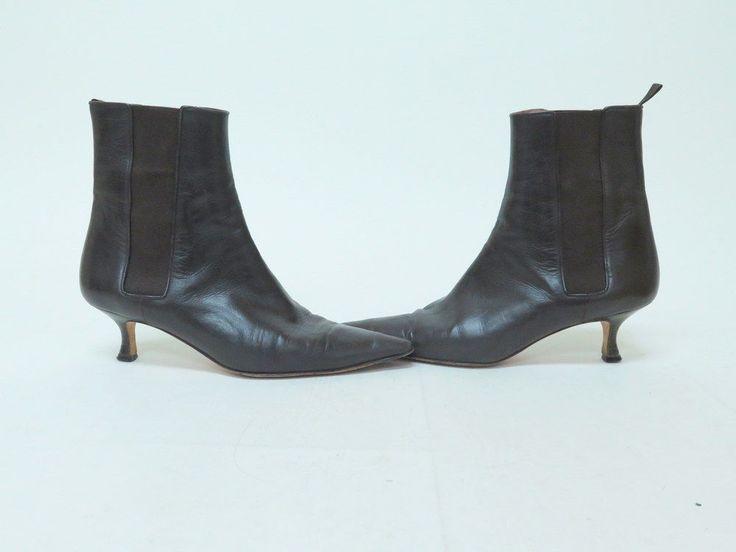 Manolo Blahnik Boot Leather Chelsea Point Toe Kitten Heel Dark Brown Size 37…