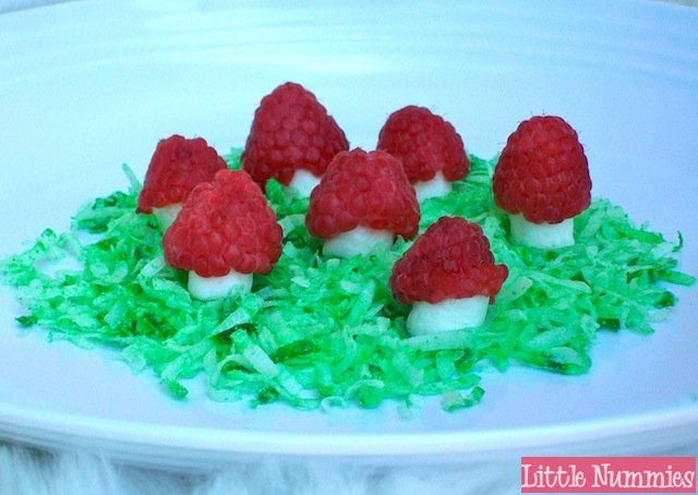 Little Nummies » Whimsical Sweets: Marshmallow Raspberry Toadstools  - might use this for cake decoration