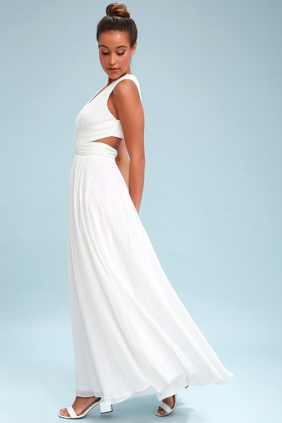 68cf9e6067008 Vivid Imagination White Cutout Maxi Dress | Rehearsal Dinner ...
