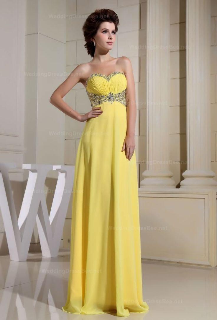 Strapless  Beading Neckline Empire Waist Chiffon Dress