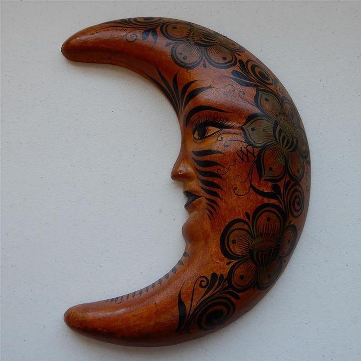 """12"""" Large Painted Moon Face Terra Cotta, Cara de La Luna Wall Hanging Tonala Art #Tonala #loscocosstore"""