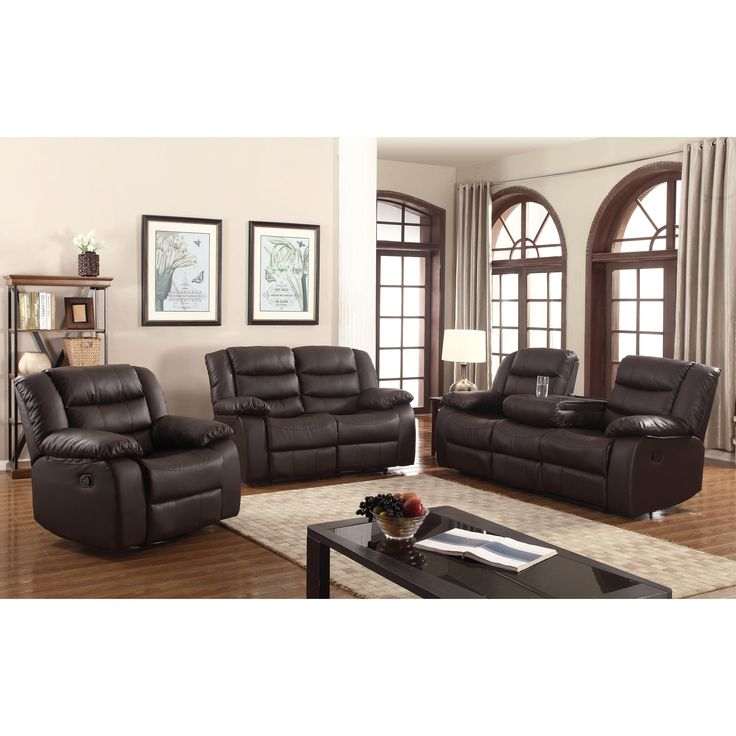 gloria faux leather 3 piece living room sofa set - Living Room Sets Leather