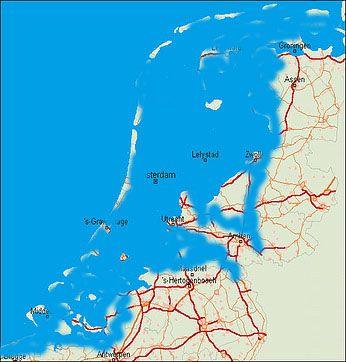 This is how The Netherlands would be withouten dykes. De historische geografie van de lage landen. Zo zou Nederland er uit zien zonder dijken.