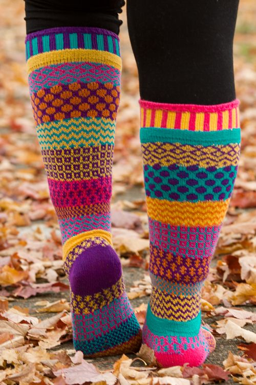Carnation Knee Highs from Solmate Socks are mismatched in just the cheerful colors we need to get through the darker months!