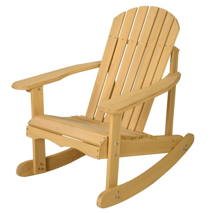 Costway Outdoor Natural Fir Wood Adirondack Rocking Chair Patio Deck Garden Furniture, Yellow, Patio Furniture
