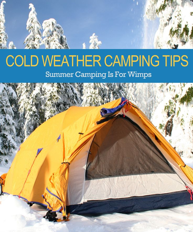 Camping Tips:  While some winter campers drive to cabins equipped with all the comforts of home, others haul their gear on snowmobiles or backpack into the wilderness. The snow offers a peaceful beauty of a pristine winter wonderland free from crowds. You can experience the serene countryside as the snow glistens in the moonlight.  http://www.readytribe.com/cold-weather-camping-tips/