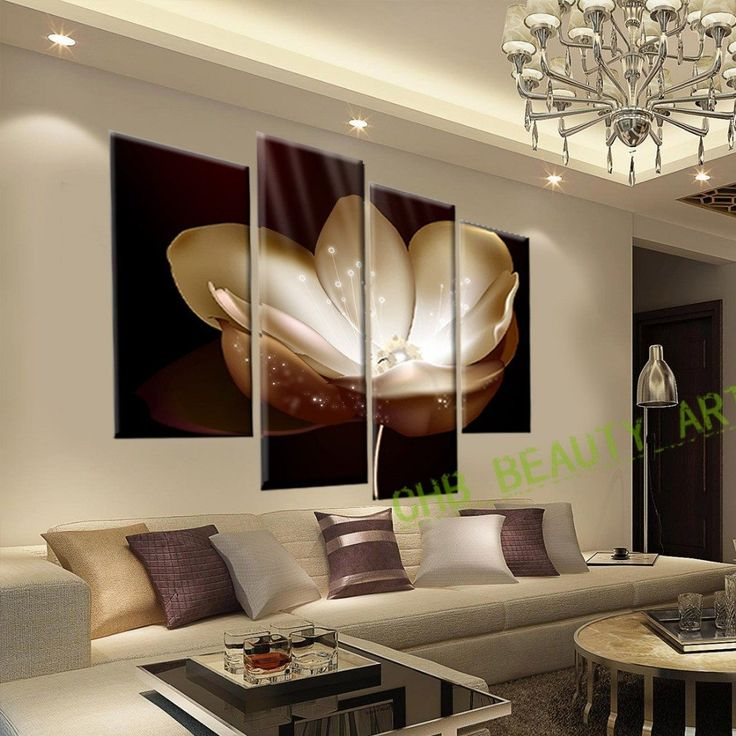 Captivating 4 Panel Gold Flower Printed Painting Canvas Picture Wall Pictures For Living  Room Wall Art Decorative