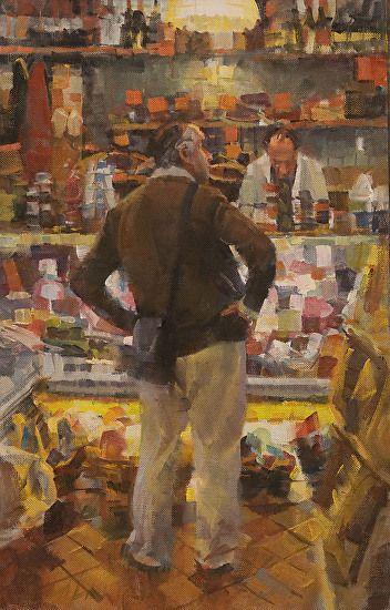 "Esperando en el mostrador de Deli por James Crandall Petróleo ~ 18 ""x 12"""