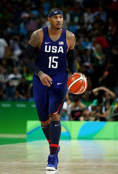Carmelo Anthony of United States drives the ball up the court against Serbia…