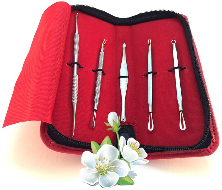 Comedone Pimple/Blackhead Extractor - Kit (5 tools) in a Red Case. 05 HIGH QUALITY Pushers and pimples extractor, each double ended, rust free and durable. They are used for PROFESSIONAL FACIALS to quickly extract a large area, and are much less damaging to the skin than squeezing. Everything You Wanted to Know About blackhead extractor comedones and were Afraid To Ask IS in our BONUS easy STEP BY STEP colorful INSTRUCTION CARD. BE FREE OF ACNE including blackheads, whiteheads and…