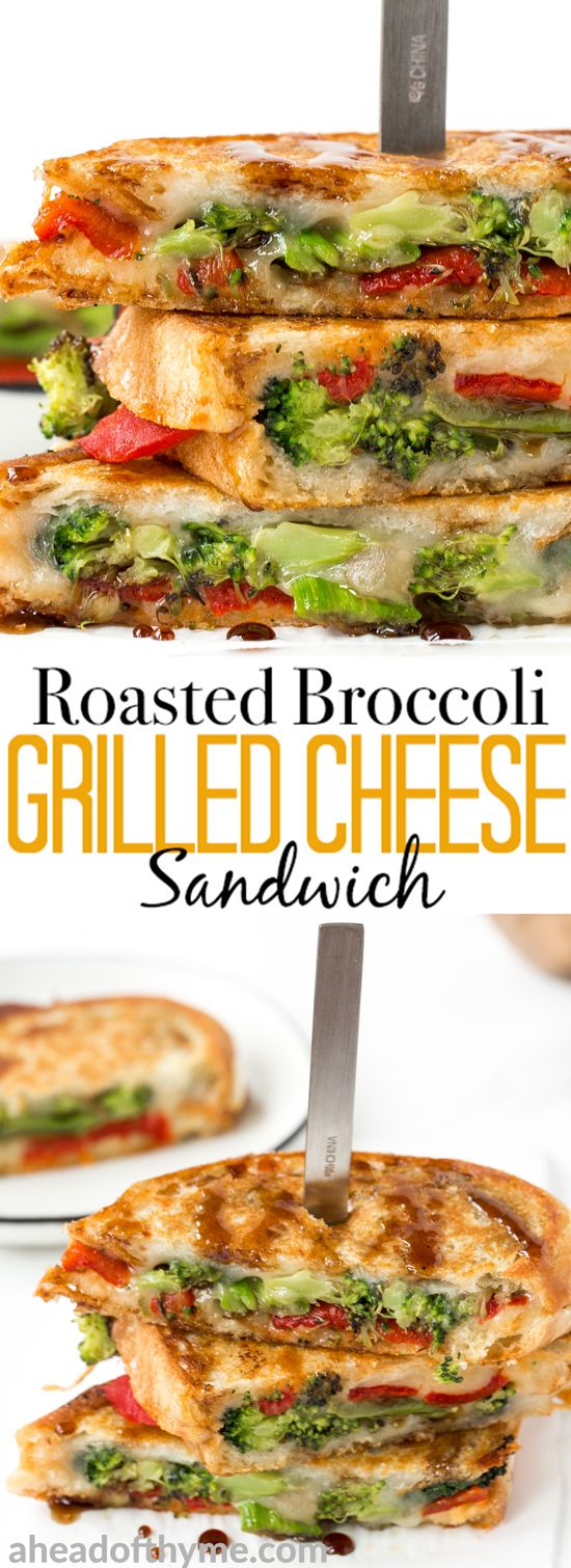 Take your grilled cheese game up a notch with this simple and flavourful vegetarian roasted broccoli grilled cheese sandwich featuring red peppers and a drizzle of balsamic. | aheadofthyme.com