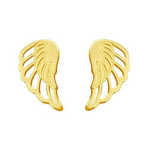 Złote kolczyki ze skrzydłami. Cena:69zł. Kup na: https://laoni.pl/zlote-kolczyki-skrzydla #kolczyki #złote #skrzydła #sztyfty #srebrne