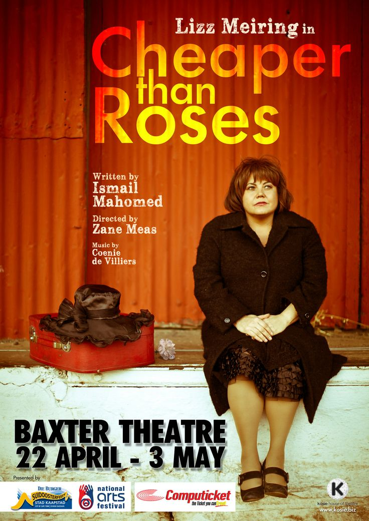 "Lizz Meiring in ""Cheaper than Roses"" - a play by Ismail Mahomed, directed by Zane Meas. One woman production. Baxter run Cape Town SA 2014. Produced by Kosie House of Theatre"