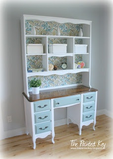 Refinished French provincial desk with hutch