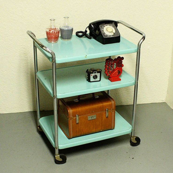Vintage Metal Cart Serving Cart Kitchen Cart Cosco Aqua Blue Wheels 3 Shelf