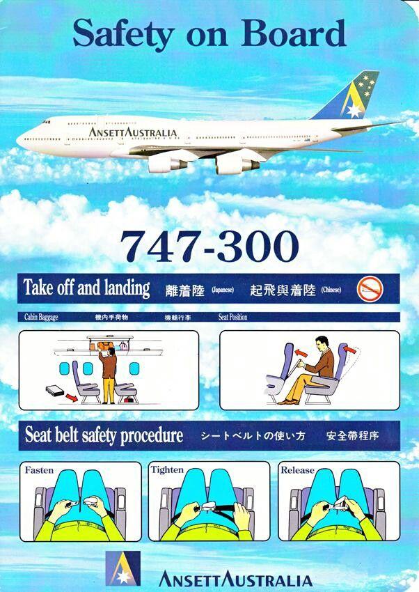 Ansett Australia 747-300 safety card