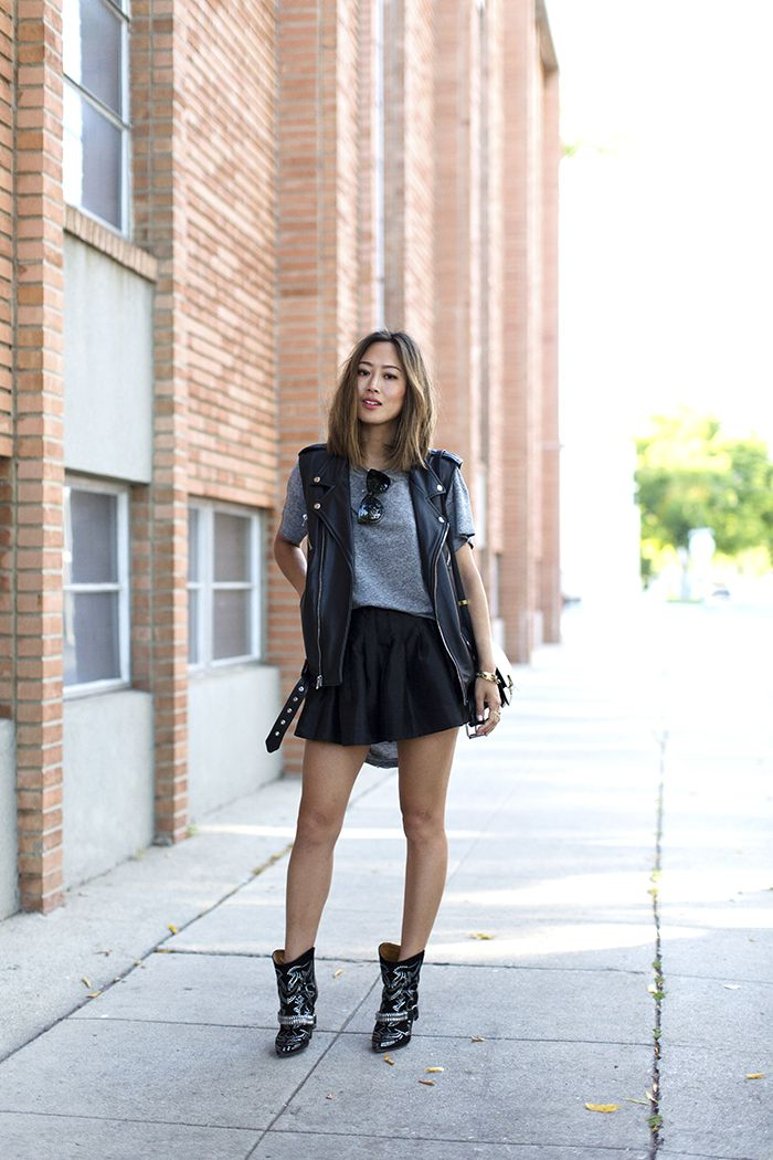Song of Style || Black Moto Vest. Leather vest, grey shirt, black skirt, Isabel Marant boots, Celine box bag