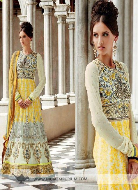 Cream #Anarkali Salwar Kameez with Stone Work  #AnarkaliSuit   #Suit