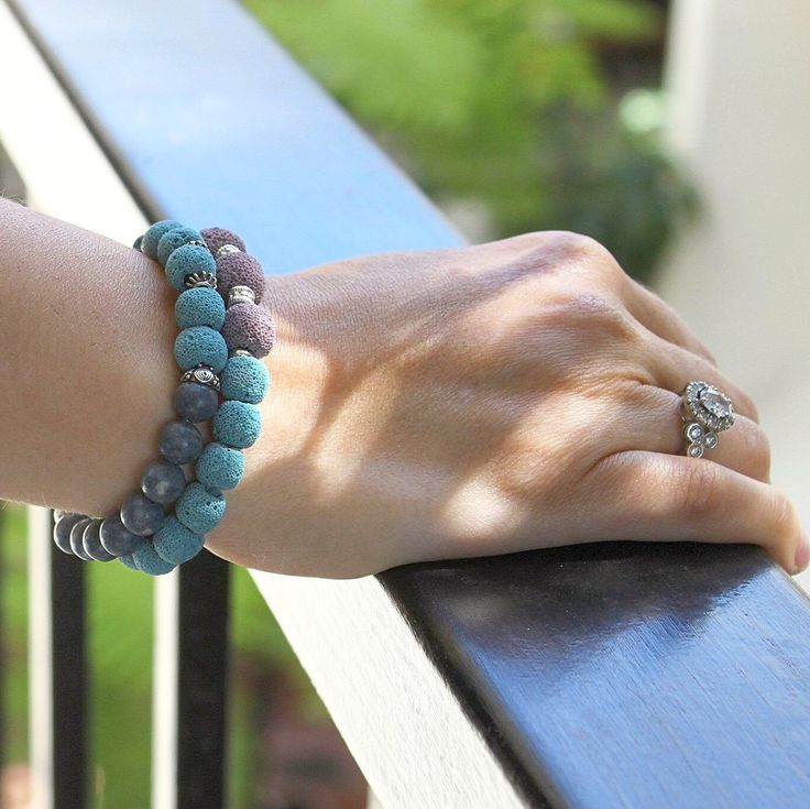 Chunky stone, sponge coral and sterling silver bracelet set