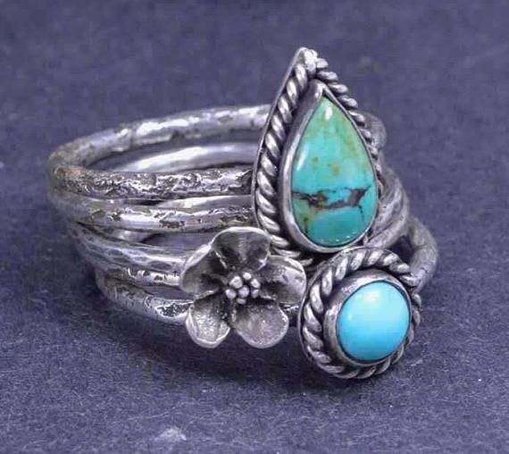 Turkoois bloem ringen Sterling zilveren ringen stapelen