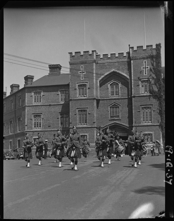 226565PD: Marching from the old pensioner Barracks, 1937. http://encore.slwa.wa.gov.au/iii/encore/record/C__Rb2377417__S16th%20Battalion%20Cameron%20Highlanders%27%20first%20church%20parade__Orightresult__U__X6?lang=eng&suite=def