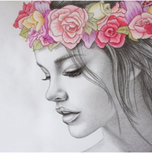 Girl with flower crown drawing - photo#1