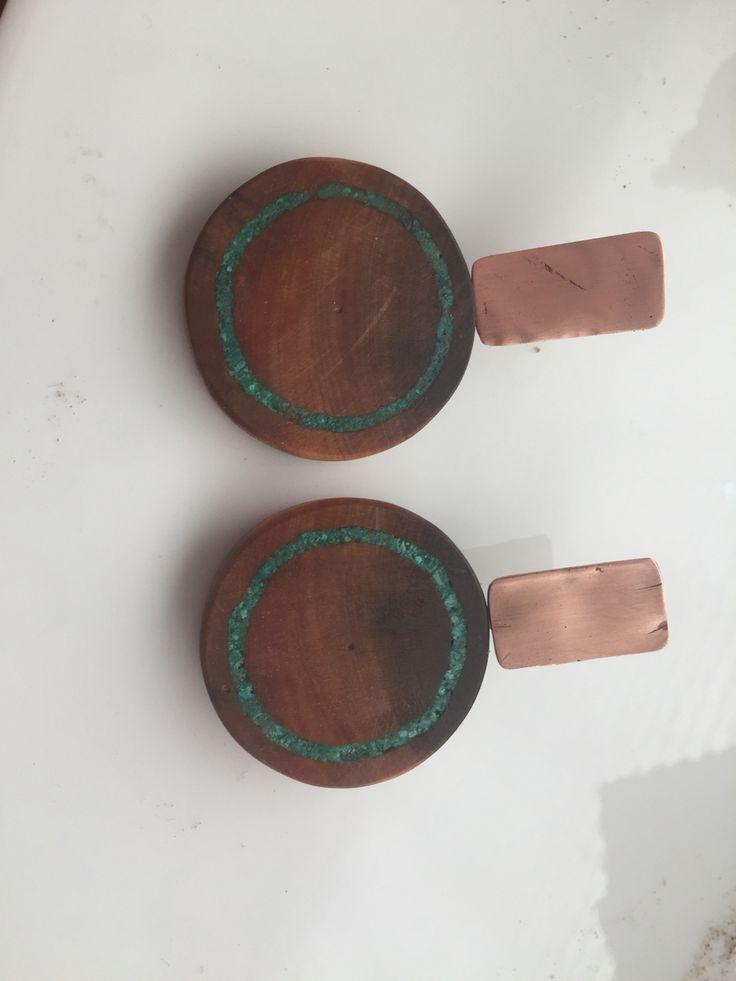 Aros picoyo plata incrustación piedra cobre
