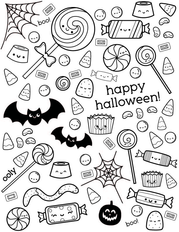 Uncolored Happy Halloween Coloring Page With Candy Designs Halloween Coloring Pages Printable Halloween Coloring Pages Candy Coloring Pages